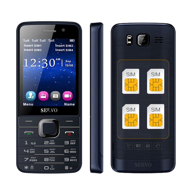 SERVO V9500 quad SIM cards 2.8 inch HD big screen 4 SIM card 4 standby dual camera GPRS bluetooth FM mobile phone P283
