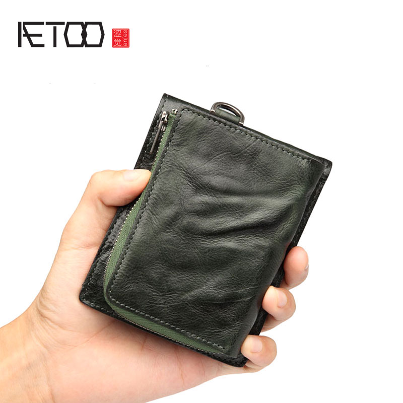 AETOO Retro men's wallet short section leather men's tide youth cross section wallet purse full leather driving license wallet-in Wallets from Luggage & Bags    1