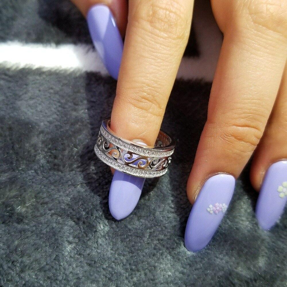 roségold silber farbe 925 sterling silber hochzeit band - Modeschmuck - Foto 2