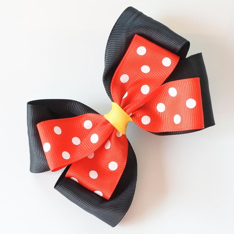 Two Layer Polka Dots Hair Bows For Girls Minnie Hair Clips Cartoon Women Barrettes Hair Accessories For Children/Adult