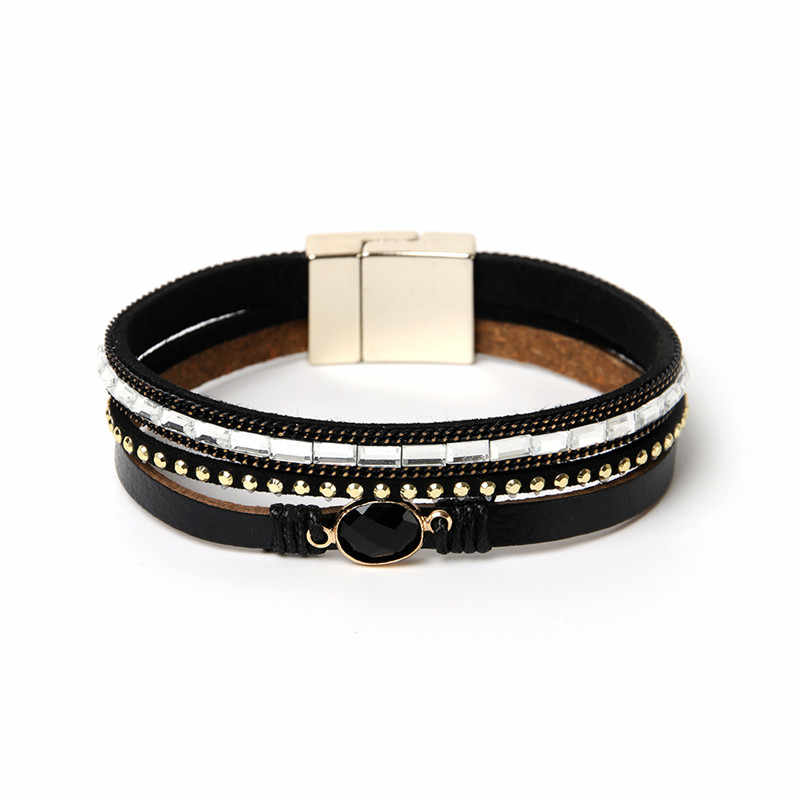 ORNAPEADIA Summer New Hot Sell Bohemia Multilayer Bracelets Glass Rivet Accessories Vintage Genuine Leather Bangles for women