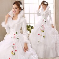 White Organza Long Sleeves Cheap Wedding Dresses 2017 Winter Warm Wedding Gowns Muslim Bridal Dress Robe