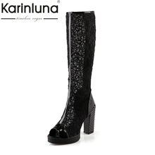 New Arrivals 2017 Big Size 32-43 Sexy Thick High Heels Lace Upper Knee High Summer Boots Platform Casual WomenShoes Woman
