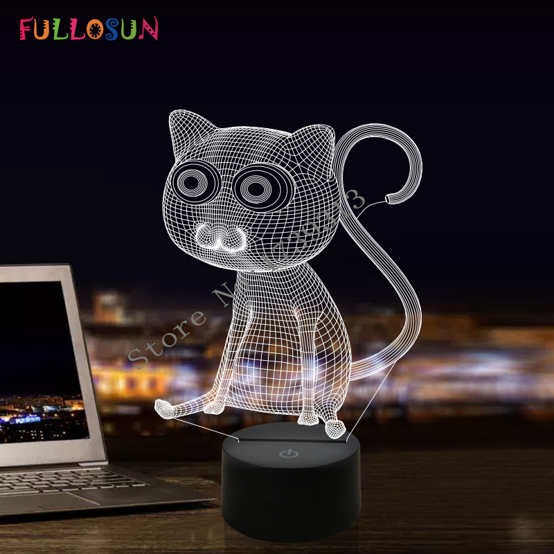 สนุก 3D บทคัดย่อตาโตแมวไฟในคืนโคมไฟ LED เป็นของตกแต่งบ้าน