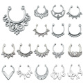 1Pc Hot Fashion Fake Septum Piercing Ring Non Piercing Nose Ring Faux Septum Clicker Stainless Steel Hanger Clip On Body Jewelry