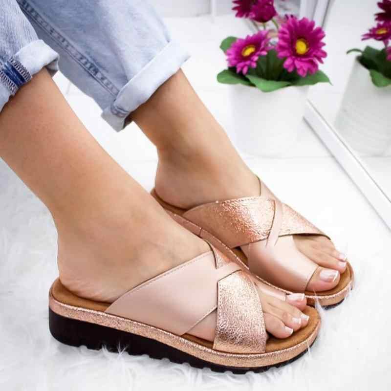 נשים סנדלי כפכפים נעלי אורטופדי פיקה מתקן קומפי פלטפורמת טריזי סנדלי גבירותיי מקרית גדול תיקון בוהן סנדל