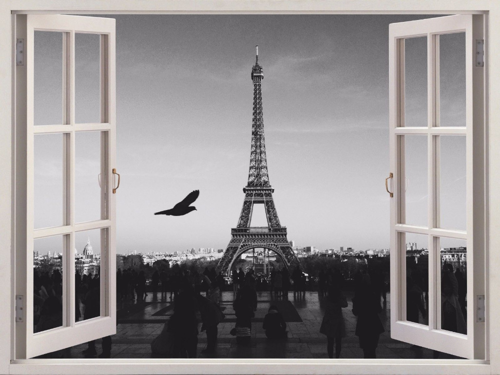 2016 hot 3d wall art sticker eiffel tower paris france for Art and decoration france