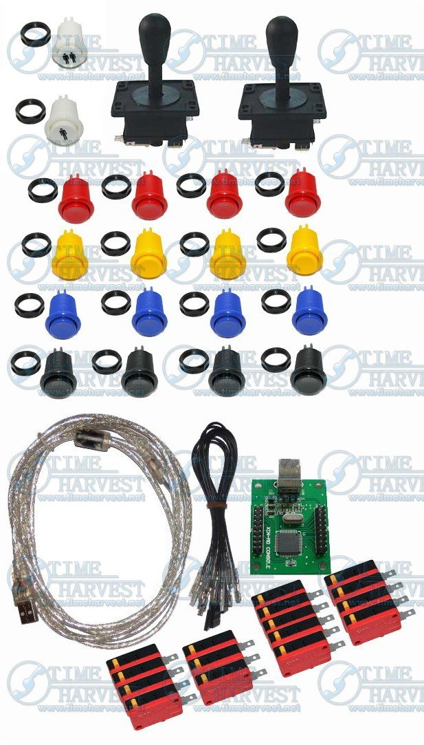 ФОТО Free Shipping Arcade parts Bundles kit With American Joystick buttons 2 player USB Encoder board to Build Up Arcade Game Machine