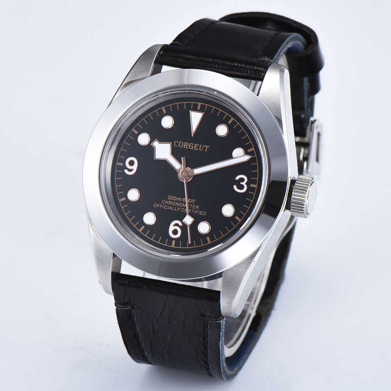 41mm Corgeut Black dial Sapphire Glass Luminous Automatic mechanical Men's Watch Leather strap