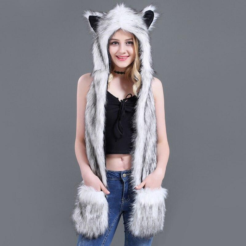New Fashion Hat Faux Fur Animal Warm Winter Hat Cap Hood Scarf Ears Fluffy Plush Glove Strength Panda Hat  Fashion Hat