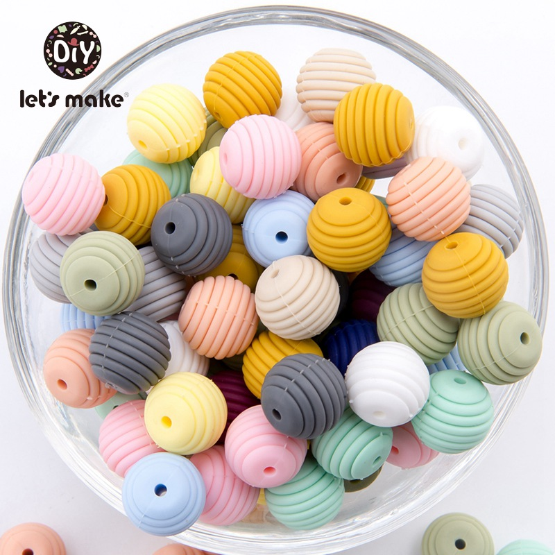 Let's make Silicone Beads Teethers 15mm 20pcs DIY Threaded Silica Beads BPA Free 4-6 Months Spiral Food Grade Silicone Teething