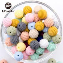 Anneaux de dentition en Silicone 15mm 20 pièces   Perles de silice filetées sans BPA, Silicone de qualité alimentaire, spirale de 4 à 6 mois, let's make