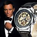 Viento de la mano mecánica relojes de lujo hombres 2017 nuevo diseño de moda de cuero casual dial redondo reloj relogios masculino de negocio