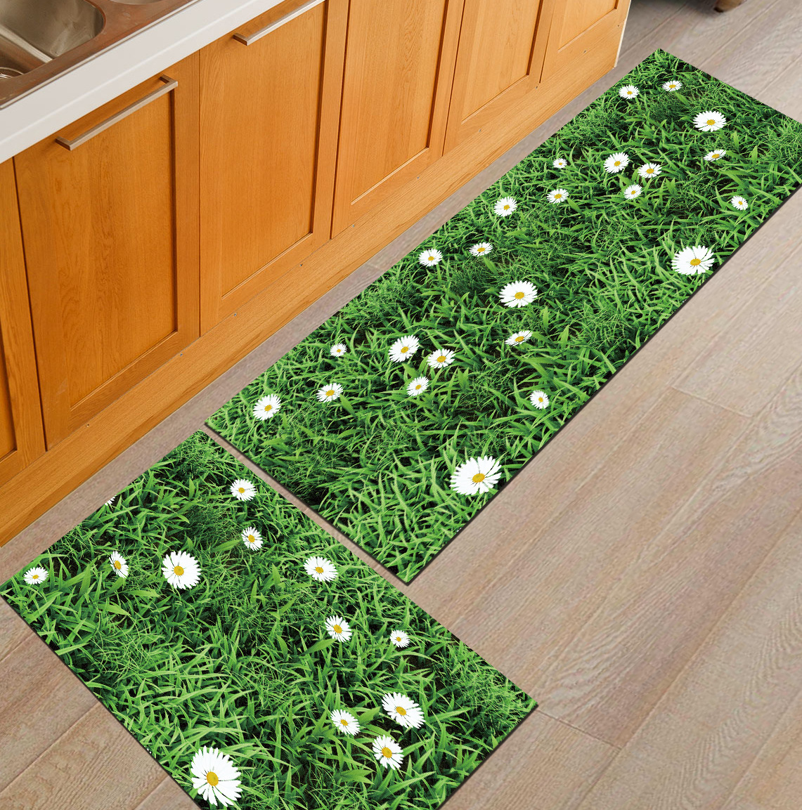 Zeegle Golden Leaves Printed Entrance Door Mats Flannel Kitchen Area Rug Anti-slip Bathroom Mats Bedroom Carpets Bedside Mats