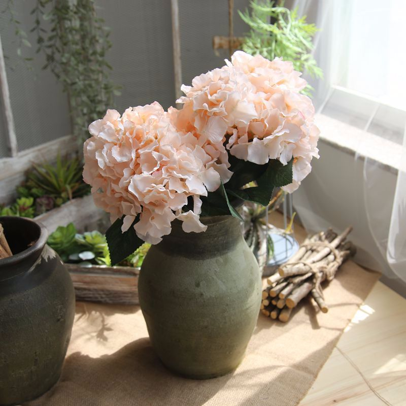 Konstgjorda Hortensia Blommor Bouquet 5 Branches / Bunch Fake Flowers - Semester och fester - Foto 2