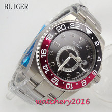 цена 43mm Bliger Black dial gmt Luminous Hands Date Sapphire Crystal Deployment band Automatic movement Mechanical Mens Wristwatch онлайн в 2017 году