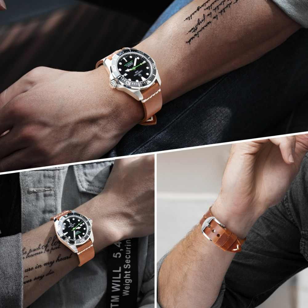 MAIKES Accessori Per Orologi In Pelle di Mucca Braccialetto di Vigilanza Della Cinghia Marrone Vintage Watch band 20 millimetri 22 millimetri 24 millimetri Cinturino Per fossil Orologio