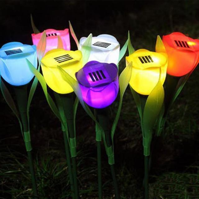 8 colors romantic tulip flower solar led lawn lamp landscape garden