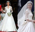 Vintage Lace Wedding Dresses Long Kate Deep V-neck A-line Long Sleeve Lace Organza Church Bridal Gowns Long Demure Wedding Gowns