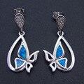New Style 100% 925 Sterling Silver Fine Blue Opal Earrings Drop Earring Jewelry Factory for Women