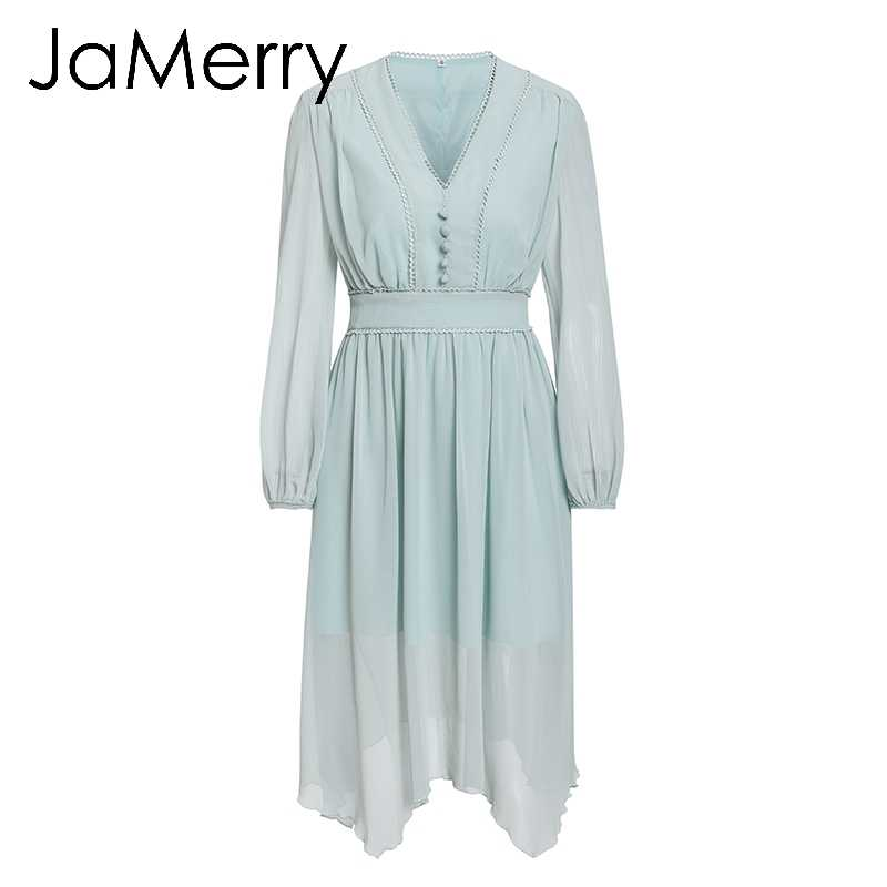 JaMerry 2019 весенне-летнее Асимметричное Платье женское элегантное платье с длинным рукавом женское шифоновое платье с v-образным вырезом бальное платье большого размера vestidos