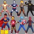 Nueva Iron Man, Spider-Man Niños Que Arropan Los Muchachos Spiderman Cosplay Traje de Deporte Para Niños Establece jacket + pants 2 unids. Ropa de los muchachos