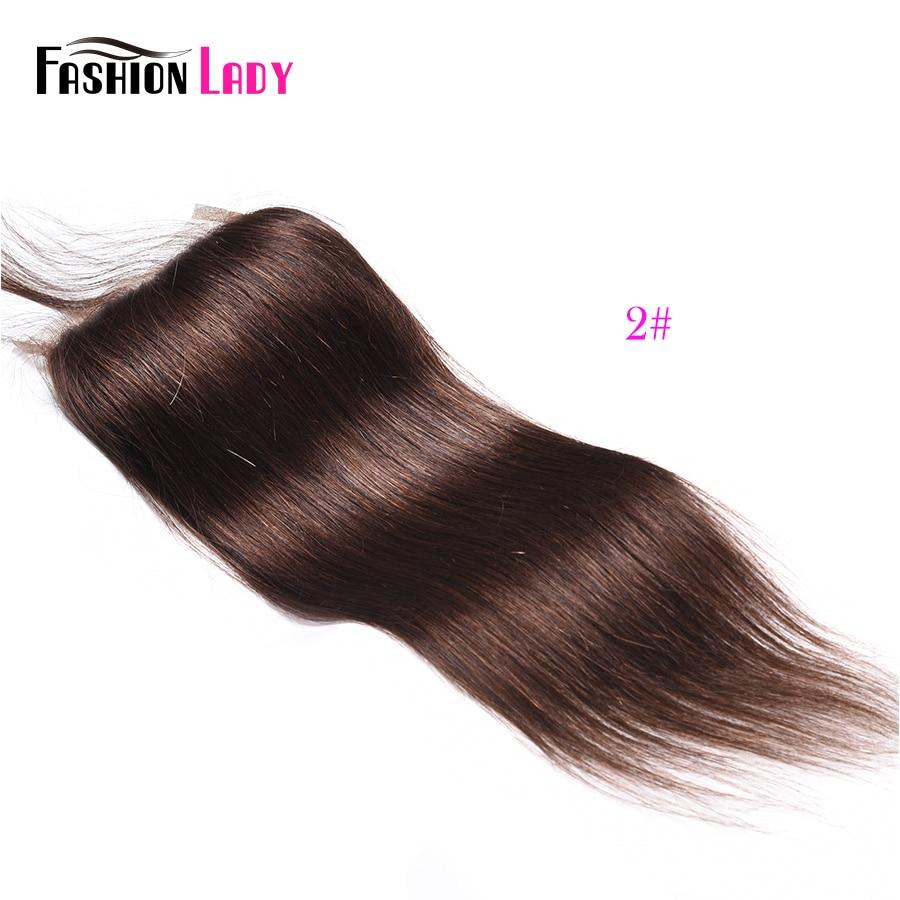 Модные женские Pre-крашеные бразильские волосы синтетическое закрытие волос прямые волосы кружево синтетическое закрытие волос 4x4 дюйма#2 каштановые человеческие волосы - Цвет: #2