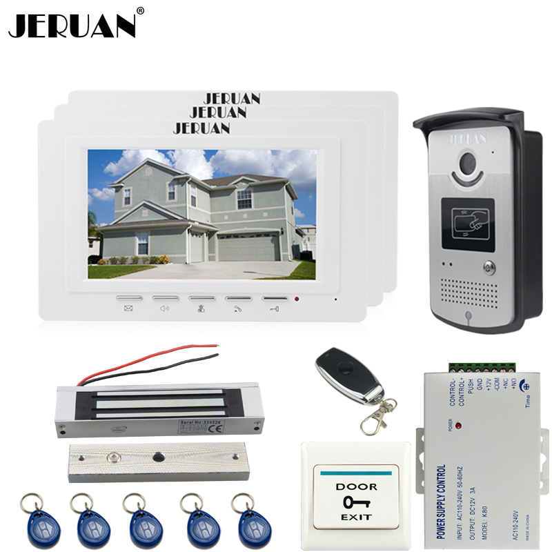 JERUAN luxury 7`` LCD video door phone three 700TVT camera access control system + magnetic lock + remote control unlock jeruan black 8 lcd video door phone system 700tvt camera access control system cathode lock remote control 8gb card