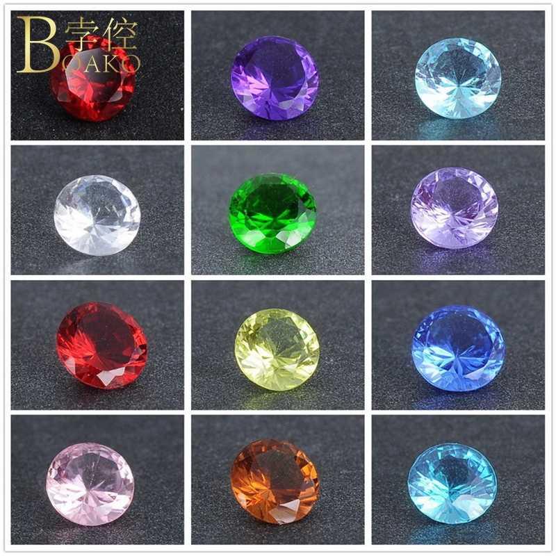 BOAKO 100 ชิ้น/เซ็ตคริสตัล Zircon หินผสมสี Birthstone รอบ Zirconia หินลูกปัดสำหรับเครื่องประดับ DIY ทำอุปกรณ์ Z5