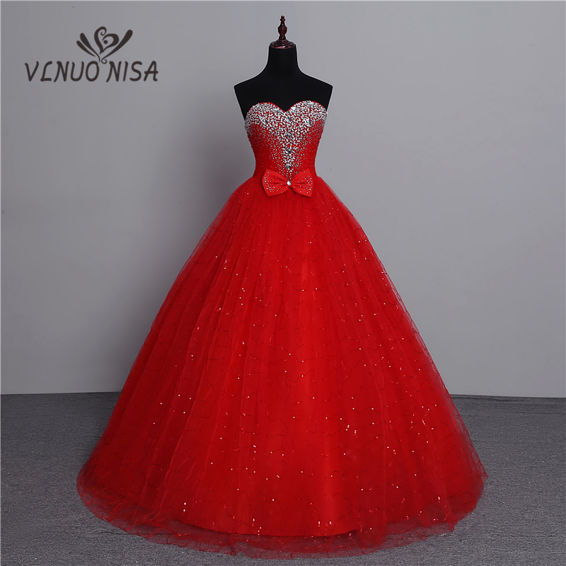 100% Real Photo 2019 Fashion Classic Vintage Lace Red Wedding Dresses Plus Size Ball Gown Robe De Mariee Cheap With Crystal Bow
