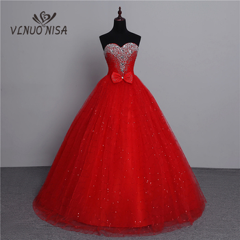100% Real Photo 2020 Fashion Classic Vintage Lace Red Wedding Dresses Plus Size Ball Gown Robe de Mariee Cheap With Crystal Bow