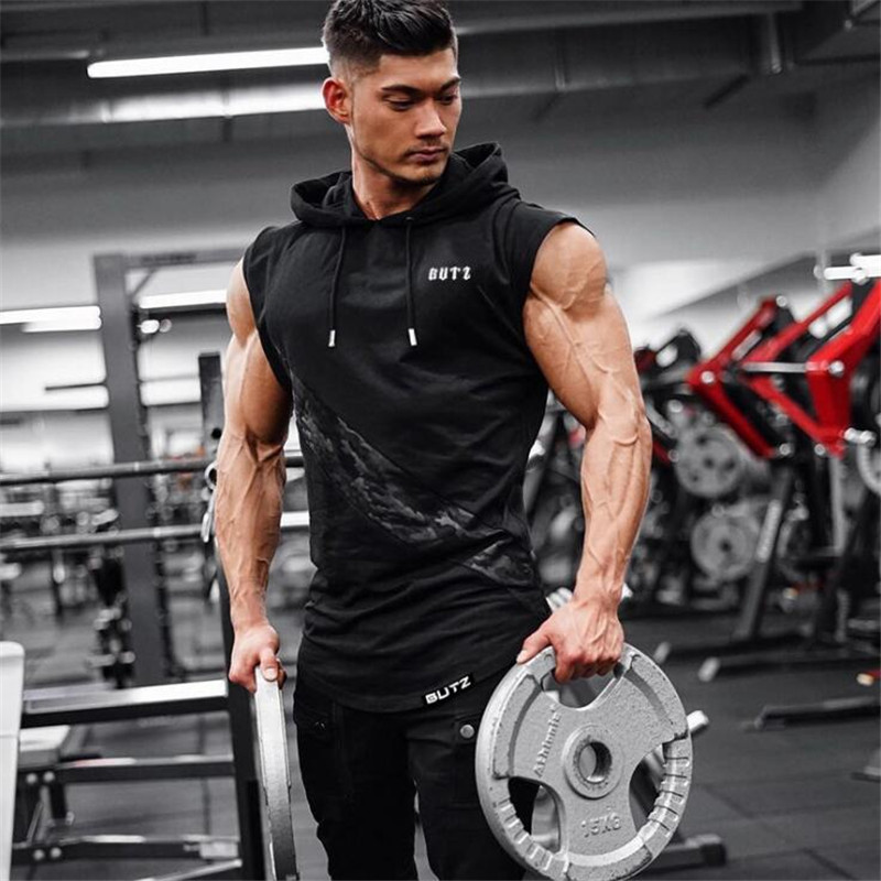 New Men's Fit Sleeveless Hoodie Bodybuilding Gyms   Tank     Tops   Crossfit Workout Sleeveless Jackets Terry   Top   Male