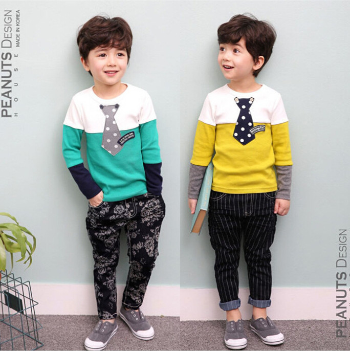 2016 New  autumn Children's clothing  stitching boys T-shirt  long sleeved suit Boys clothes Free shipping