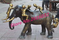 wedding decoration 35China fengshui bronze Gilt wealth 5 boy Girl Play Elephants Auspicious statue Christmas