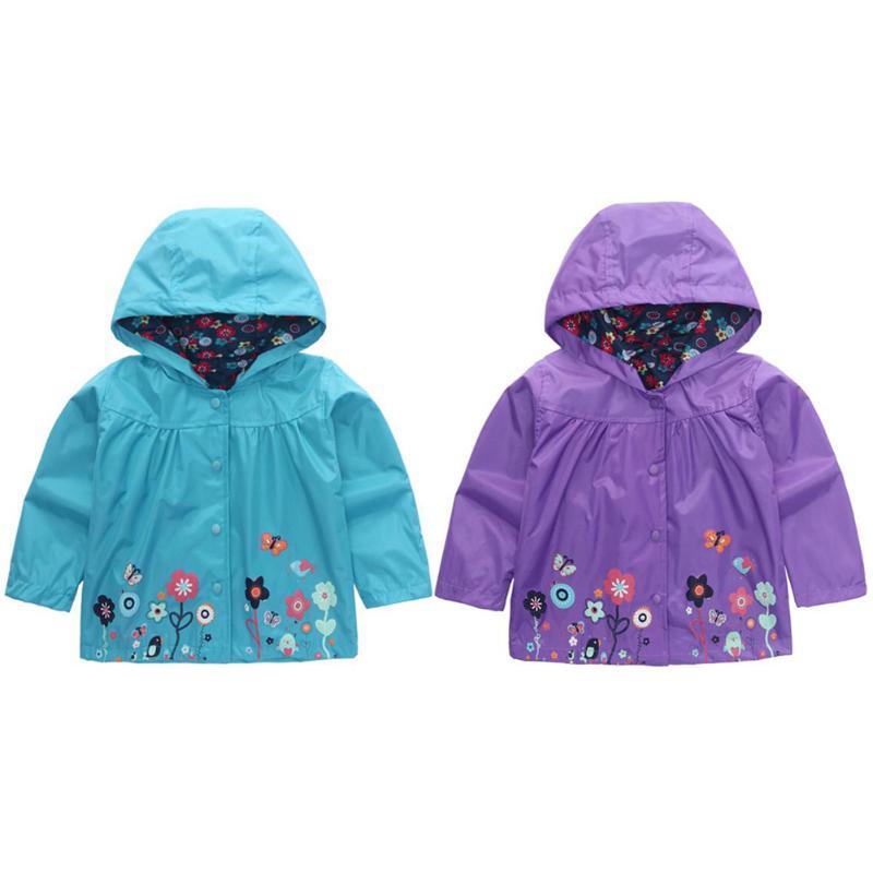 Для маленьких девочек Мальчик Открытый пальто Водонепроницаемый Цветочный принт верхняя одежда с капюшоном куртка для детей для маленьких...