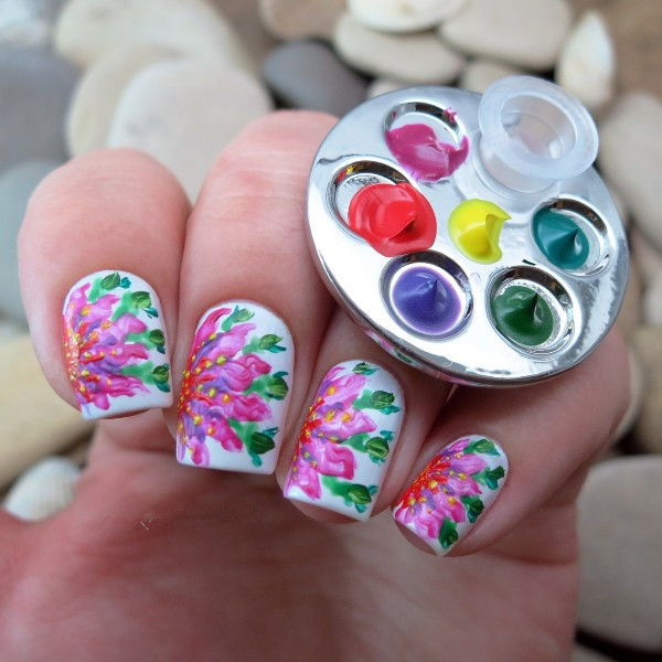 1pc diy color painting nail art tool mini finger nail gel polish 1pc diy color painting nail art tool mini finger nail gel polish palette for free hand manicure ring palette footprint design in underwear from mother prinsesfo Images