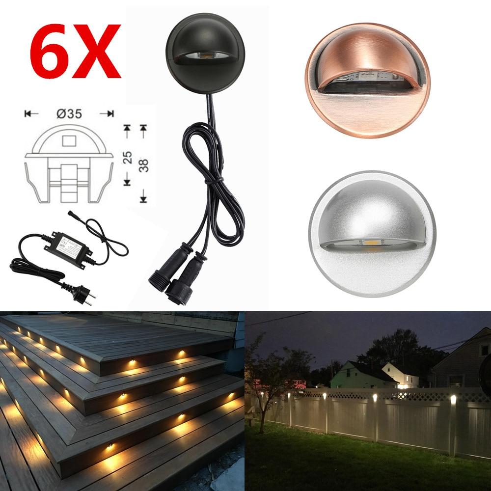 6pcs lot 35mm 12v ip65 low voltage half moon eyelid led deck rail step stair fence lights wall lamp garden terrace lighting kit