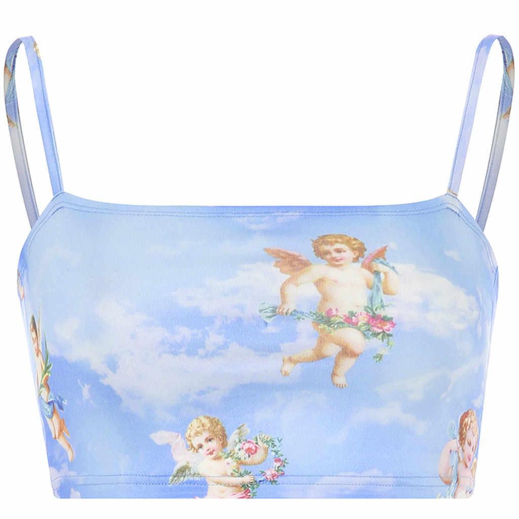 ノースリーブコール天使キューピッドプリントショートキャミソールトップ女性の夏因果 camiseta lencera mujer 女性パーティー 10 #