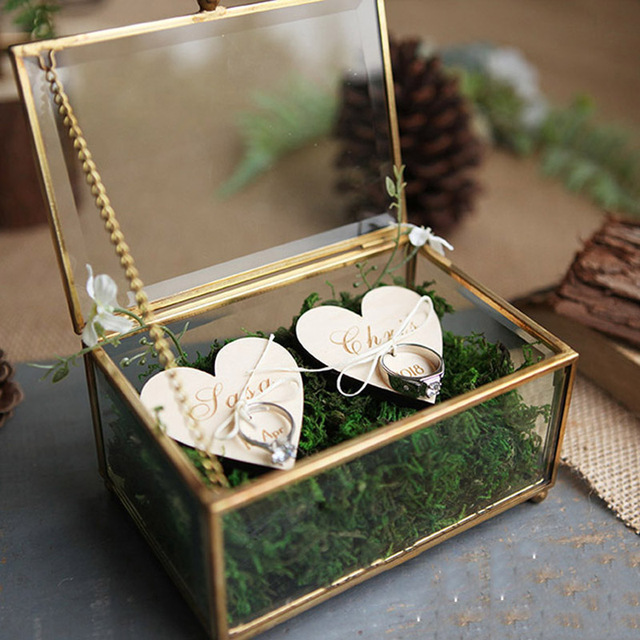 Unique Wedding Favors Hexagonal Geometric Ring Box Flower Jewelry