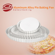 BAKEST Aluminum Alloy Pizza Baking Pan With Removable Bottom Round Shape Cake Pie Mold Multiple Size Selection