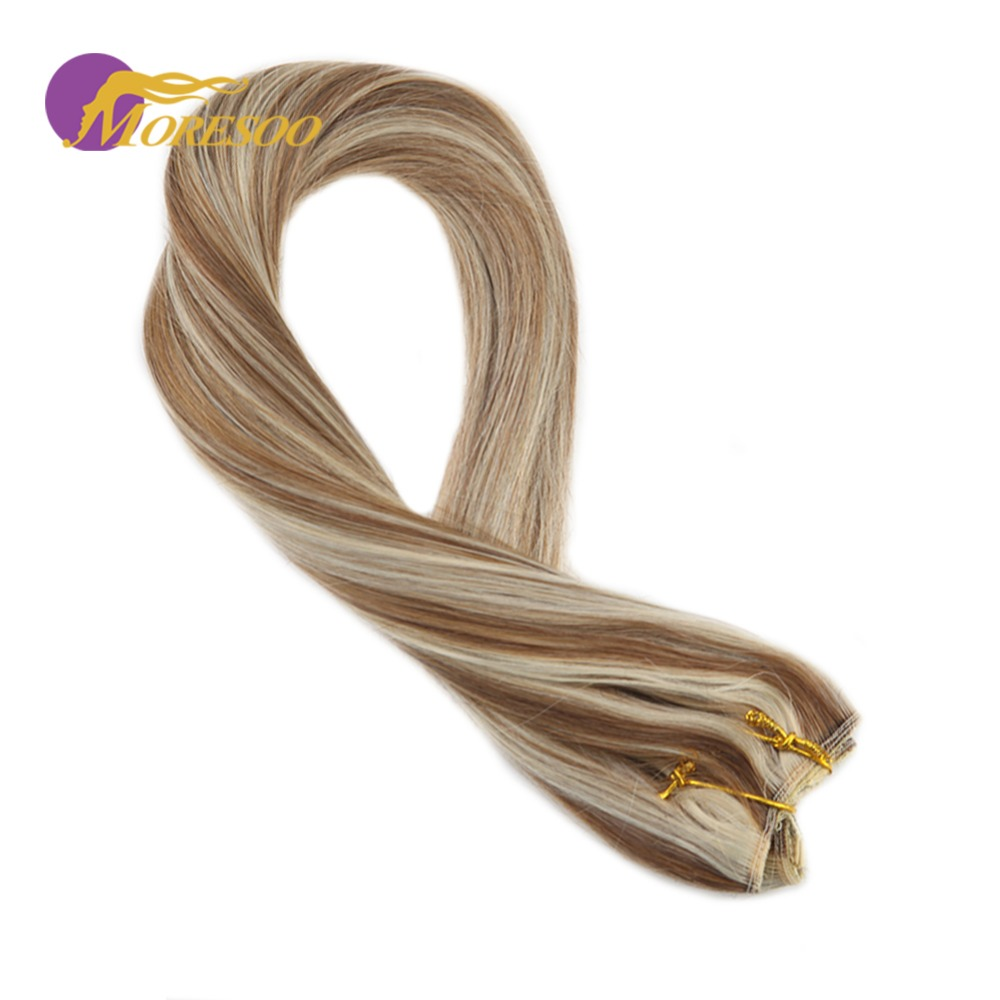 Moresoo Flip In Hair Extensions Real Remy Human Hair Extensions #6 Brown Highlighted With #60 Blonde 3/4 Full Head 50-100 Grams