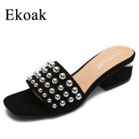 Ekoak 2017 New Rivets Women Sandals Summer Shoes Woman Fashion Thick High Heels Sandals Women Gladiator