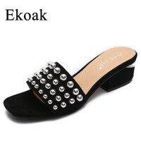 Ekoak 2017 New Rivets Women Sandals Summer Shoes Woman Fashion Thick High Heels Sandals Women Gladiator