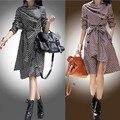 2017 Primavera Otoño moda mujer pecho doble capa de foso prendas de vestir exteriores más tamaño gabardina larga de las mujeres OL del desgaste del trabajo abrigo