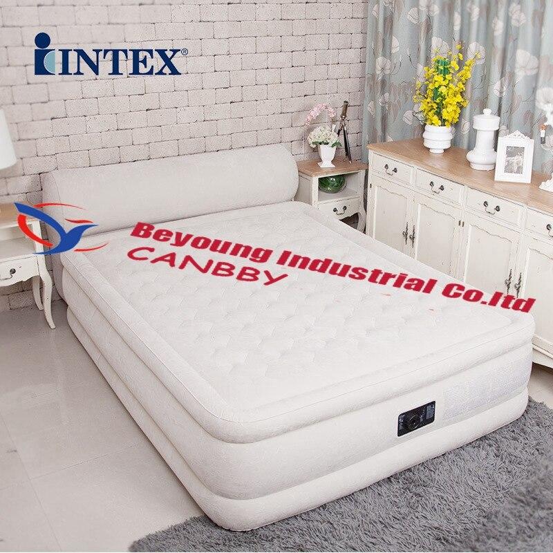 Intex Ultra Plush Fiber Tech Airbed Mattress with Headboard Queen /& Cover