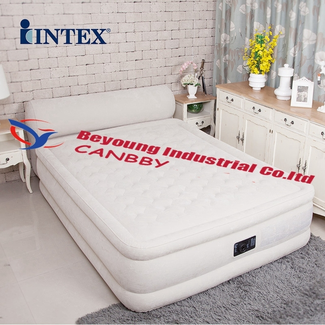 Intex Queen Dura Beam Ultra Plush Airbed Deluxe Inflatable Bed Mattress With Headboard Built In Electric