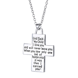 Ogquaton Men Women Cross Pendant Baby Footprints Letter Carved Prayer Necklace Jewelry