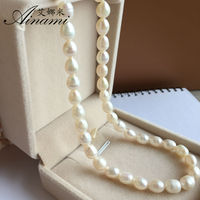 Ainami 5pcs Lot Natural Freshwater Pearl Necklace 6 6 5mm Rice Pearl 925 Sterling Silver