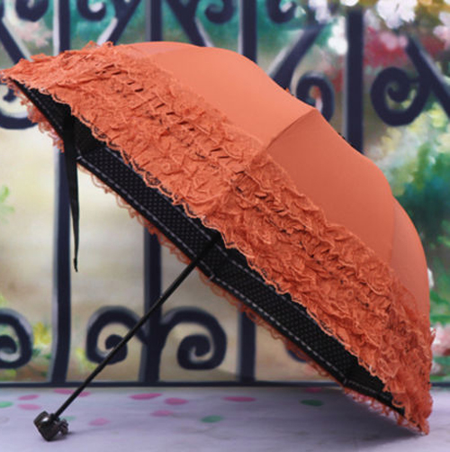 Practical Women's Princess Dome/Birdcage Sun/Rain Folding Umbrella For Wedding Lace Trim orange