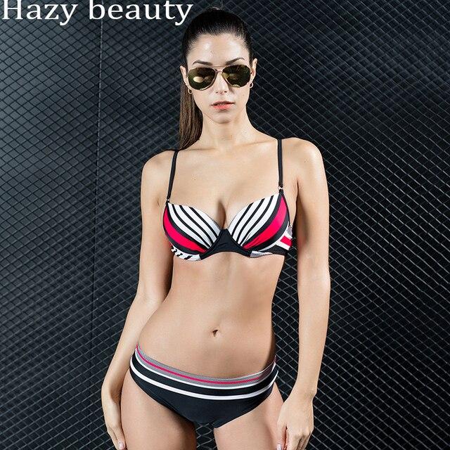 93fc56e8c1e Direct wholesale EU & US new morden stripe swimsuit ladies split two pieces  bikinis hot spring swimwear sexy shower female suits